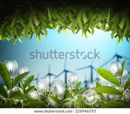 Light bulb Alternative energy concept  - stock photo