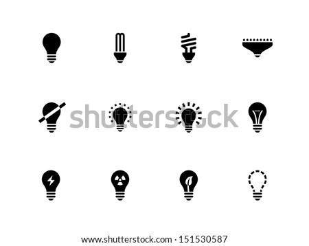 Light bulb and CFL lamp icons on white background. See also vector version. - stock photo