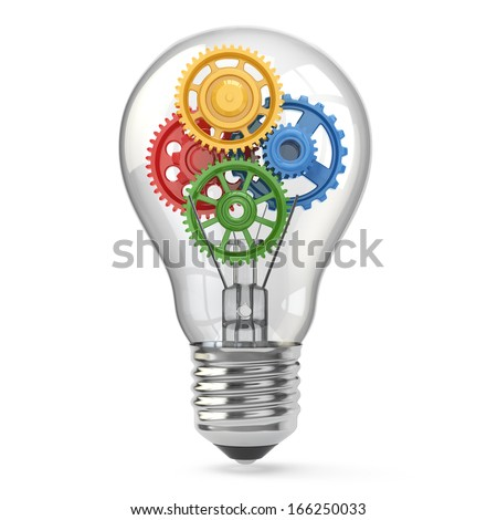 Light  bulb and gears. Perpetuum mobile idea concept. 3d - stock photo