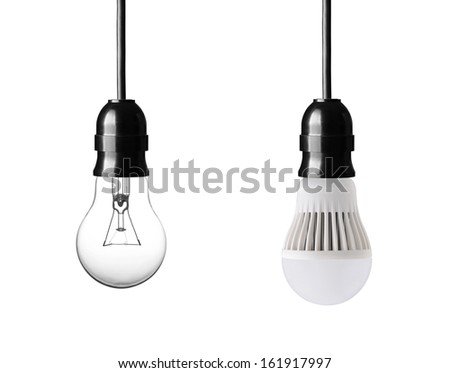 light bulb and LED bulb isolated on white - stock photo