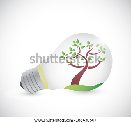 light bulb and tree illustration design over a white background - stock photo