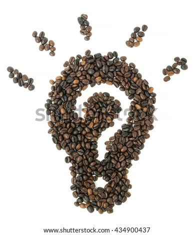 light bulb coffee beans inside has new idea isolated on white background, business concept idea and strategy - stock photo