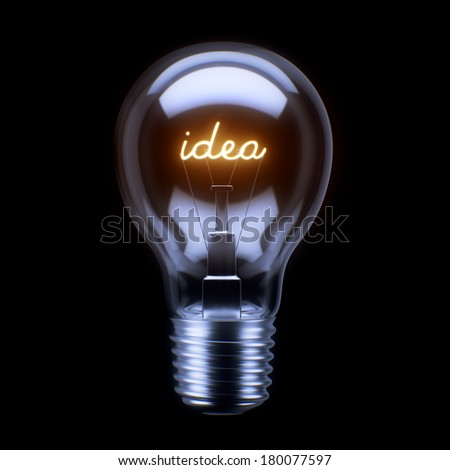 Light Bulb Concept isolated on black background - stock photo