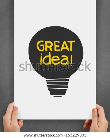 light bulb crumpled paper in great idea words as creative concept - stock photo