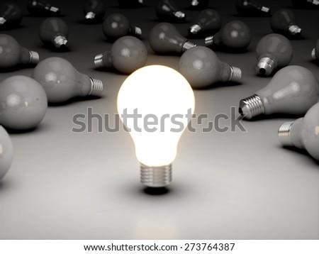 Light Bulb. 3D. Creativity - stock photo