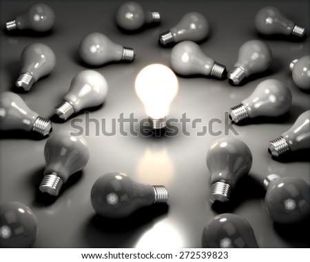 Light Bulb. 3D. Energy Saving Lamp - stock photo
