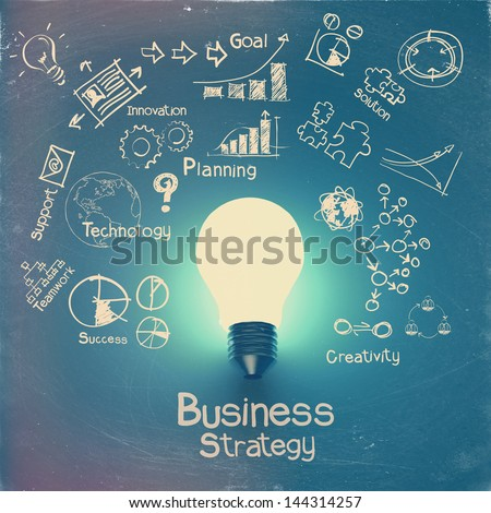 light bulb 3d on business strategy background as vintage style concept - stock photo