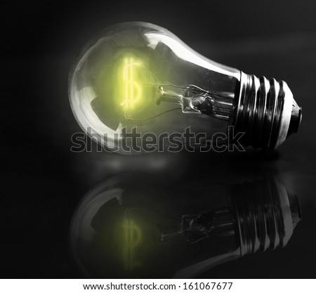 light-bulb dollar sign (energy costs) - stock photo