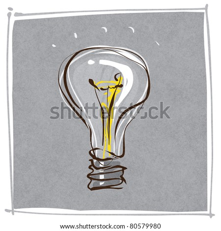light-bulb dynamic freehand line style  (raster version) - stock photo