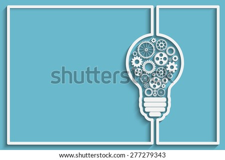 light bulb frame with gears and cogs working together. background for your design - stock photo