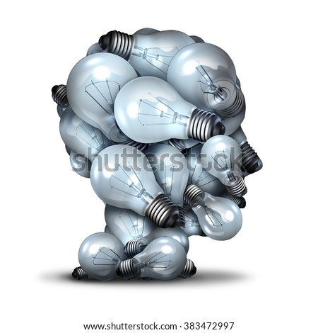 Light bulb head creativity and the power of imagination concept as a group of lightbulbs shaped as a human face as an inspiration symbol for thinking of new ideas and the inventive mind. - stock photo