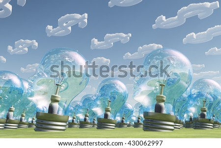 Light Bulb heads and dollar symbol clouds 3d Render - stock photo