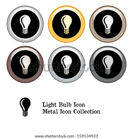 Light Bulb Icon Metal Icon Set.  Raster version. - stock photo