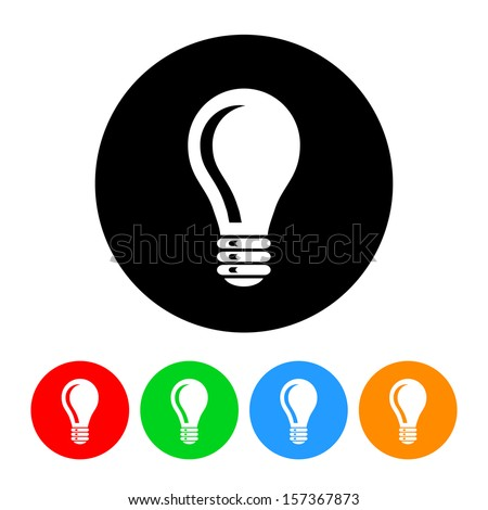 Light Bulb Icon with Color Variations.  Raster version. - stock photo