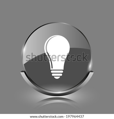 Light bulb - idea icon. Shiny glossy internet button on grey background.  - stock photo