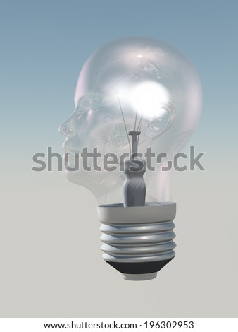 Light bulb in form of human head - stock photo