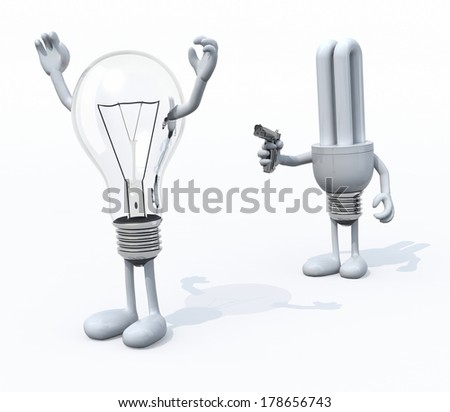 light bulb kill cfl bulb, the concept of innovation or new technology - stock photo