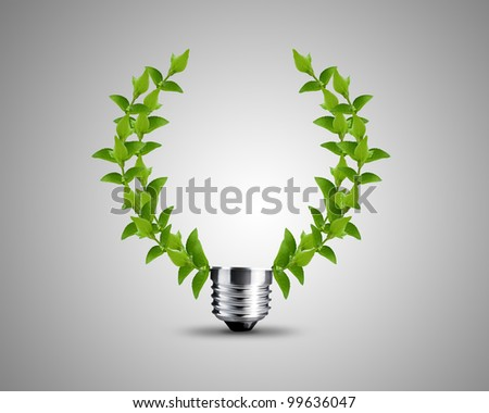 light bulb made from green Leaves , light bulb conceptual Image. - stock photo