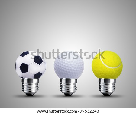 light bulb made from sport balls, light bulb conceptual Image. - stock photo