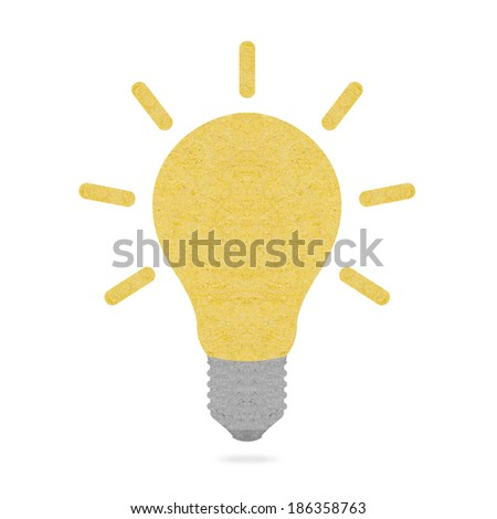 Light bulb made of recycled paper isolated on white background - stock photo