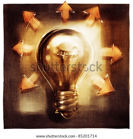 light bulb metaphor concept with arrows (loose painting) - stock photo