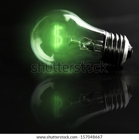light-bulb money-sign (energy costs) - stock photo