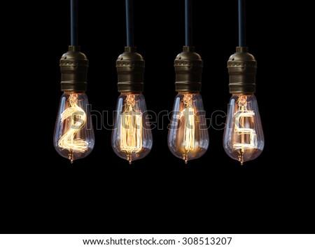 light bulb,new year 2015 - stock photo