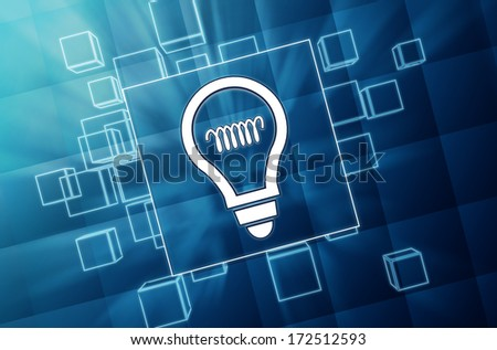 light bulb sign on 3d blue glass boxes with white symbol, idea concept icon - stock photo