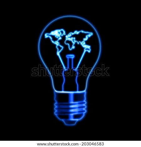 light bulb sign with world map - shining symbol over black background, power concept web icon - stock photo