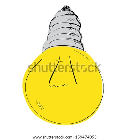 Light bulb sketch cartoon illustration - stock photo