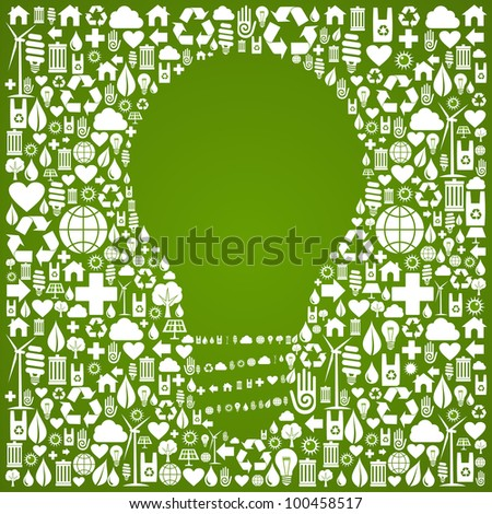 Light bulb symbol over green icons set background. - stock photo
