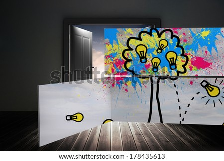 Light bulb tree on abstract screen against doors opening to reveal beautiful sky - stock photo