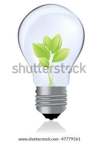 Light bulb whit green plant / eco concept - stock photo