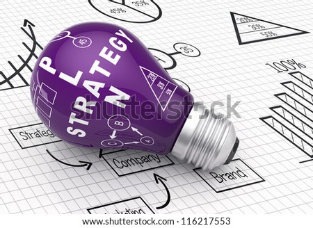 Light bulb with business charts - stock photo