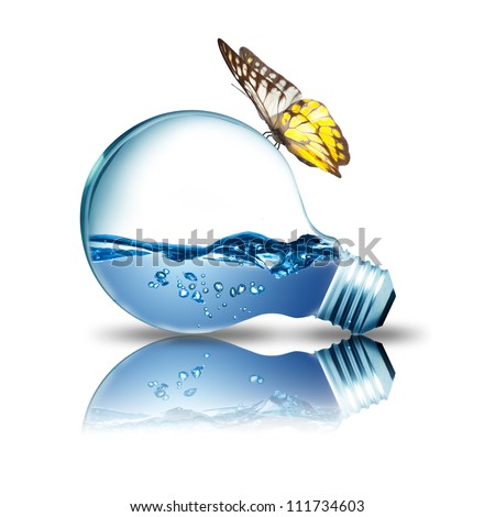 Light bulb with butterfly on top and water inside. Concept for environmental conservation - stock photo