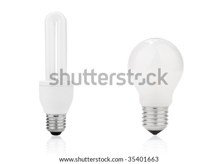 Light bulb with frosted glass and electrical fluorescent energy saving lamp isolated on white - stock photo