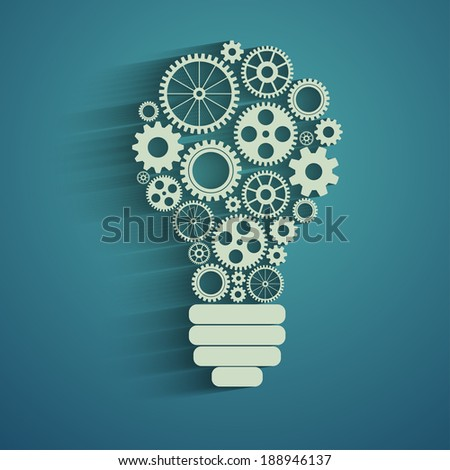 light bulb with gears and cogs working together - stock photo