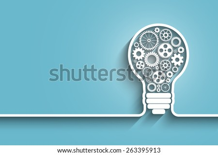 light bulb with gears and cogs working together.  - stock photo