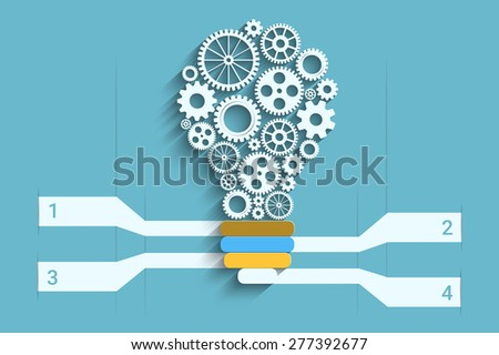 Light bulb with gears as a infographic for your design - stock photo