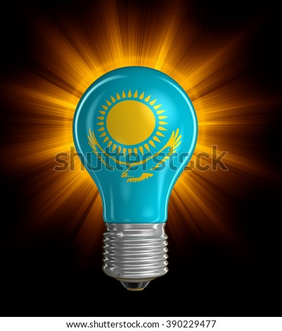 Light bulb with Kazakh Flag.  Image with clipping path - stock photo