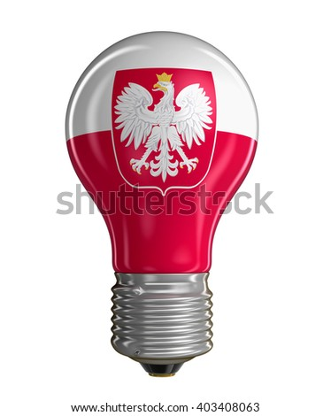 Light bulb with Polish flag.  Image with clipping path - stock photo