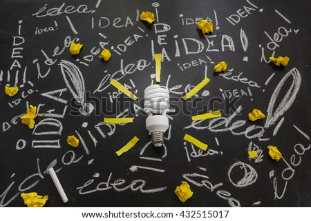 Light bulb with rays made from yellow stickers on the black chalkboard with titles idea! written by white chalk crumpled papers, light bulb idea , business idea , business concept ,Innovation concept - stock photo