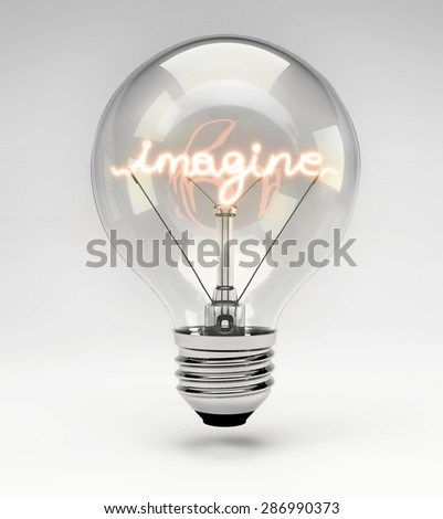 Light Bulb with Realistic Fluorescent Filament - Imagine Concept (Set) - stock photo