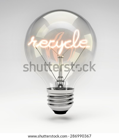 Light Bulb with Realistic Fluorescent Filament - Recycle Concept (Set) - stock photo