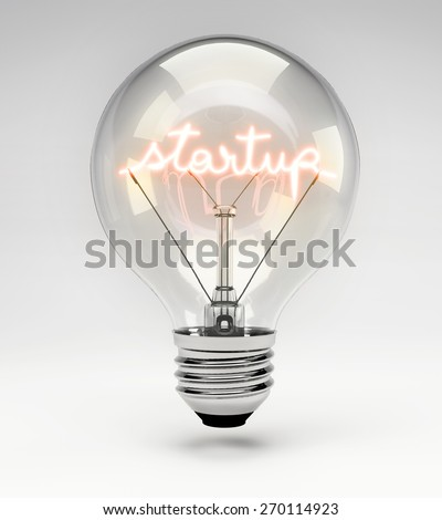 Light Bulb with Realistic Fluorescent Filament - Start Up Concept (Set) - stock photo
