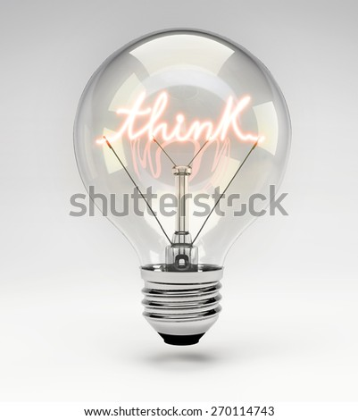 Light Bulb with Realistic Fluorescent Filament - Think Concept (Set) - stock photo