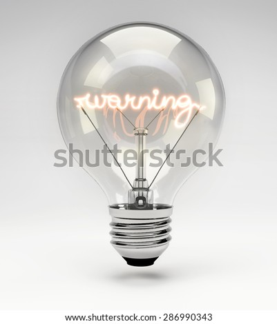 Light Bulb with Realistic Fluorescent Filament - Warning Concept (Set) - stock photo