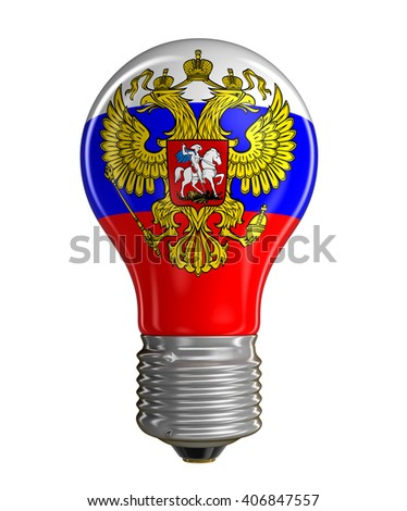 Light bulb with Russian flag.  Image with clipping path - stock photo