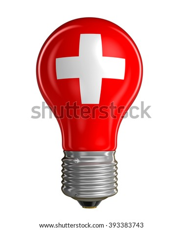 Light bulb with Swiss flag.  Image with clipping path - stock photo