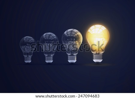 Light bulbs on blue background. 3d photorealistic render. Set of bulbs. Ideea concept.  - stock photo